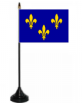 Île-de-France Desk / Table Flag with plastic stand and base.